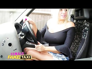 Femalefaketaxi new driver loves a big black cock