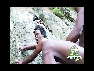 Hot caribbean island models fucking orgy at a river waterfall
