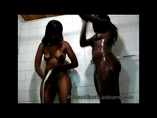 Big ass lesbians straight from africa showering together