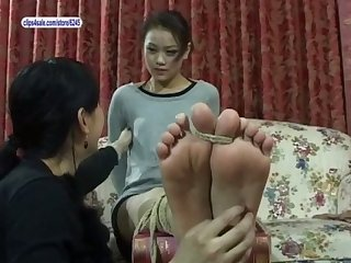 Asian feet tickled