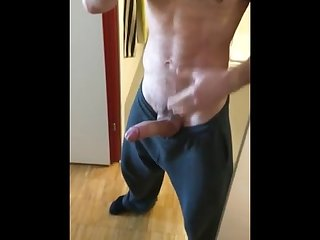Big cock hunk mirror jerk and huge cumshot