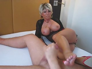 Sexy mature blow job and foot job