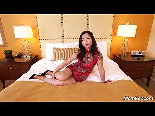 Mature asian milf fucks white cock