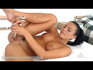 Vanessa decker slides a wet dildo in and out of her vag