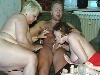 Hardcore threesome with two nasty whores