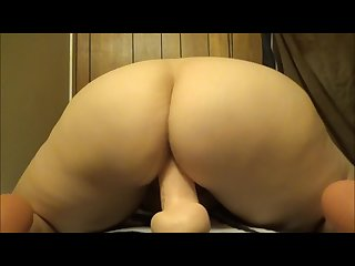 Mommy rides huge dildo