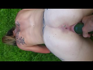 Outdoors tattooed milf pov blowjob with a surprise