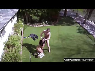 Cheating latina gabby quinteros caught fucking lawn guy