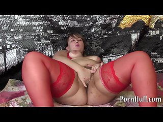 Beautiful bbw with hairy by a pussy handjob