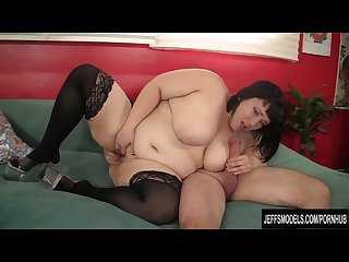 Sexy plumper takes fat dick and eats cum