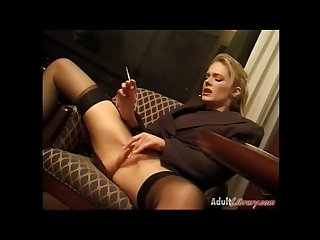 Jennifer George smoking masturbation in bottomless office uniform
