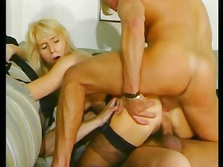 Blonde milf gets fucked by two cocks