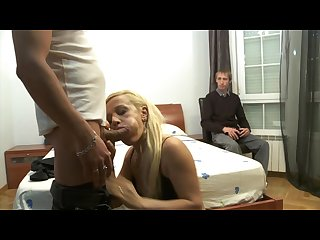 Cuckold watching how her slut girlfriend is being fucked