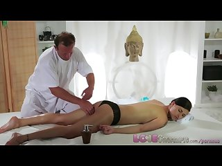 Love creampie big tits babe gets filled with spunk on the massage table
