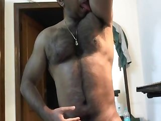 Hairy indian muscle daddy on cam