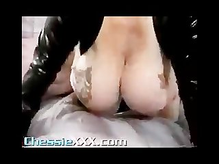Hugetitted bbw matures playing in leather and vinyl