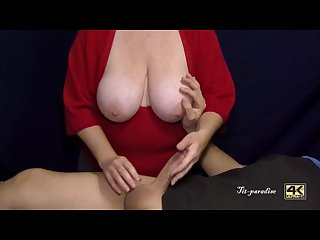 Professional handjob with cumshot by expert milf with huge boobs in 4k