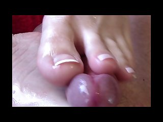 First foot job amazing cum shot