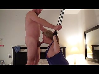 Punish bondage anal fuck and cum on face of masturbating cleaning lady