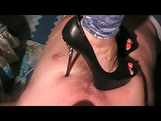 Stomach vs high heels hard Trampling