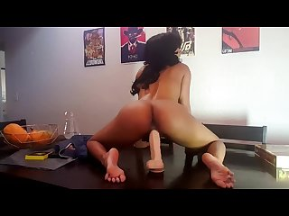 Sexy and sensual babe dildo ride