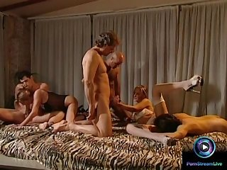 Awesome foursome with deep penetration scene