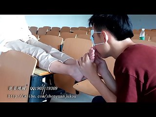 Chinese student foot worship in classroom