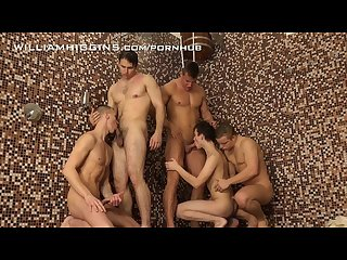 5 horny hunks have fun in the shower at williamhiggins wank party