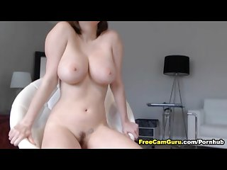 Huge tits babe toys her pussy
