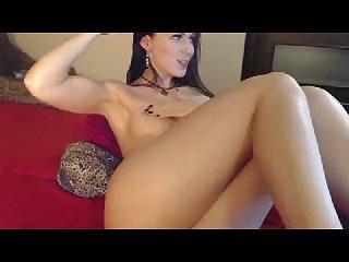 Sporty girl flexing