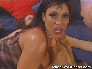 Busty asian anal fucked and gets jizzed