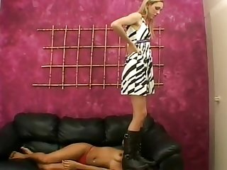 Hot girl get her face squished and stepped on by boots