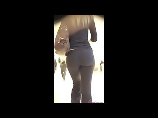 Candid perfect blonde teen black Leggings