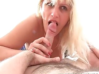 Mature blonde seduces younger dude