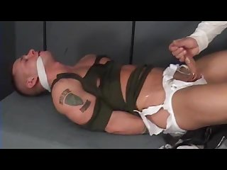 Handsome ex-military stud bound gagged stripped and jerked off.