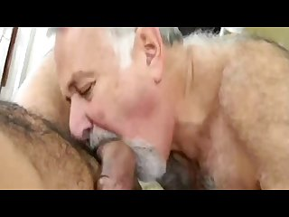 Hairy bear sucking big cock