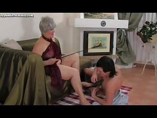 Fatty mature lady makes a young Servant fulfill her every whim