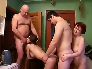 Real Father mother daughter and son orgy hidden cam