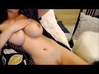 Brunette milf with natural big tits hammering her wet hairy pussy