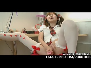 Japanese girl plays with her pussy before courses