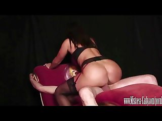 Busty mistress fucks her sexdoll then he eats cum out her wet pussy