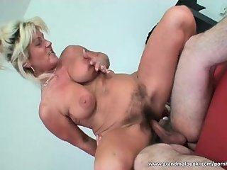 Blonde mature whore squirts and fucks her man