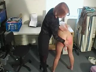 Dirty blonde slut fucks her cunt while getting spanked