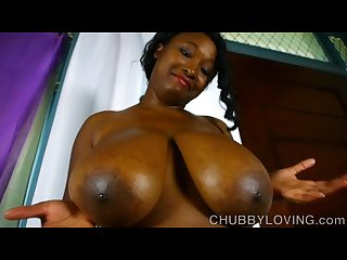 Beautiful busty black bbw oils up her amazing big tits