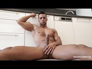 Straight euro officer masturbates 8 5 of uncut cock on site