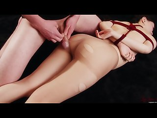 Japanese girl miku oguri tied up and her pantyhose and legs fucked