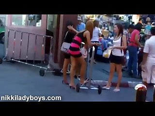 Walking street with ladyboys working in nana plaza bangkok