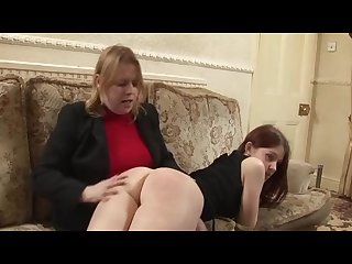 Girl spanked by older woman