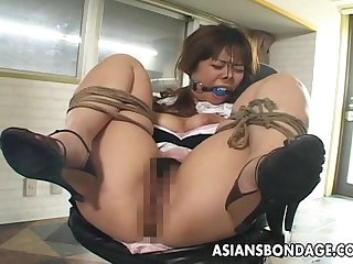 Asian tied up bitch squirts from her bdsm session