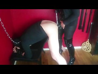 Dominatrix femdom pegging slave with big strapon dominatrixi